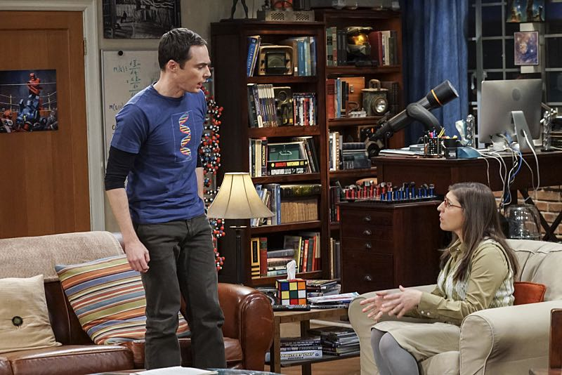 """The Geology Elevation"" -- Pictured: Sheldon Cooper (Jim Parsons) and Amy Farrah Fowler (Mayim Bialik). When Bert (Brian Posehn), a Caltech geologist, wins the MacArthur Genius fellowship, Sheldon is overcome with jealousy. Also, Wolowitz finds an old remote control Stephen Hawking action figure he invented, on THE BIG BANG THEORY, Thursday, Nov. 17 (8:00-8:31 PM, ET/PT), on the CBS Television Network. Stephen Hawking returns to guest star as himself. Photo: Monty Brinton/CBS ©2016 CBS Broadcasting, Inc. All Rights Reserved."