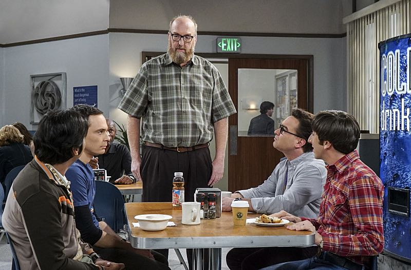 """The Geology Elevation"" -- Pictured: Rajesh Koothrappali (Kunal Nayyar), Sheldon Cooper (Jim Parsons), Bert (Brian Posehn), Leonard Hofstadter (Johnny Galecki) and Howard Wolowitz (Simon Helberg). When Bert (Brian Posehn), a Caltech geologist, wins the MacArthur Genius fellowship, Sheldon is overcome with jealousy. Also, Wolowitz finds an old remote control Stephen Hawking action figure he invented, on THE BIG BANG THEORY, Thursday, Nov. 17 (8:00-8:31 PM, ET/PT), on the CBS Television Network. Stephen Hawking returns to guest star as himself. Photo: Monty Brinton/CBS ©2016 CBS Broadcasting, Inc. All Rights Reserved."