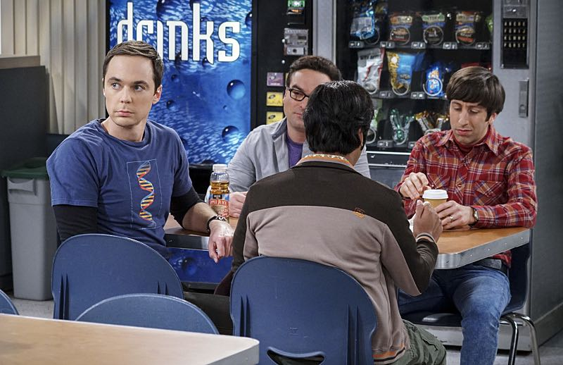 """The Geology Elevation"" -- Pictured: Sheldon Cooper (Jim Parsons), Leonard Hofstadter (Johnny Galecki), Rajesh Koothrappali (Kunal Nayyar) and Howard Wolowitz (Simon Helberg). When Bert (Brian Posehn), a Caltech geologist, wins the MacArthur Genius fellowship, Sheldon is overcome with jealousy. Also, Wolowitz finds an old remote control Stephen Hawking action figure he invented, on THE BIG BANG THEORY, Thursday, Nov. 17 (8:00-8:31 PM, ET/PT), on the CBS Television Network. Stephen Hawking returns to guest star as himself. Photo: Monty Brinton/CBS ©2016 CBS Broadcasting, Inc. All Rights Reserved."