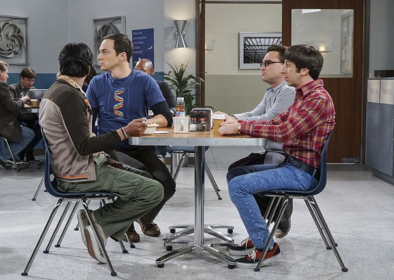 """The Geology Elevation"" -- Pictured: Rajesh Koothrappali (Kunal Nayyar), Sheldon Cooper (Jim Parsons), Leonard Hofstadter (Johnny Galecki) and Howard Wolowitz (Simon Helberg). When Bert (Brian Posehn), a Caltech geologist, wins the MacArthur Genius fellowship, Sheldon is overcome with jealousy. Also, Wolowitz finds an old remote control Stephen Hawking action figure he invented, on THE BIG BANG THEORY, Thursday, Nov. 17 (8:00-8:31 PM, ET/PT), on the CBS Television Network. Stephen Hawking returns to guest star as himself. Photo: Monty Brinton/CBS ©2016 CBS Broadcasting, Inc. All Rights Reserved."