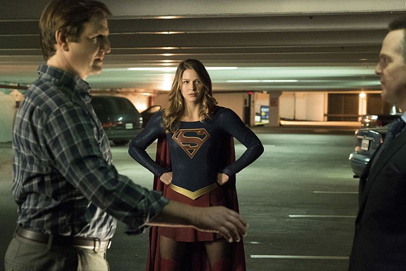 "Supergirl -- ""Changing"" -- Image SPG206a_0321 -- Pictured (L-R): William Mapother as Dr. Rudy Jones, Melissa Benoist as Kara/Supergirl, Jason Gray-Stanford as Rand O'Reilly -- Photo: Liane Hentscher/The CW -- © 2016 The CW Network, LLC. All Rights Reserved"