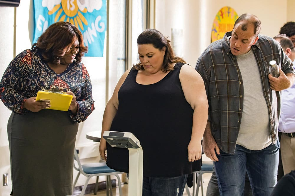 """THIS IS US -- """"The Best Washing Machine in the Whole World """" Episode 107 -- Pictured: (l-r) Chrissy Metz as Kate, Chris Sullivan as Toby -- (Photo by: Ron Batzdorff/NBC)"""