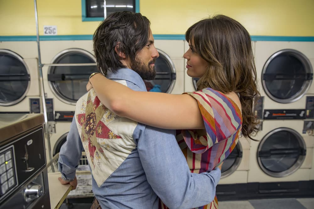 """THIS IS US -- """"The Best Washing Machine in the Whole World """" Episode 107 -- Pictured: (l-r) Milo Ventimiglia as Jack, Mandy Moore as Rebecca -- (Photo by: Ron Batzdorff/NBC)"""