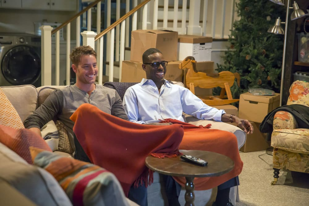 """THIS IS US -- """"The Best Washing Machine in the Whole World """" Episode 107 -- Pictured: (l-r) Justin Hartley as Kevin, Sterling K. Brown as Randall -- (Photo by: Ron Batzdorff/NBC)"""