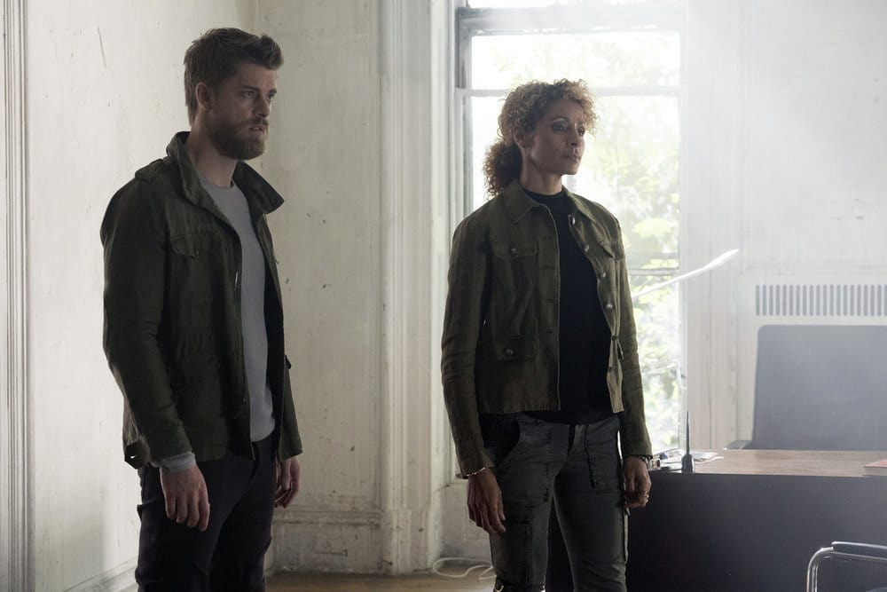 """BLINDSPOT -- """"Why Let Cooler Pasture Deform"""" Episode 209 -- Pictured: (l-r) Luke Mitchell as Roman, Michelle Hurd as Shepherd -- (Photo by: Virginia Sherwood/NBC)"""