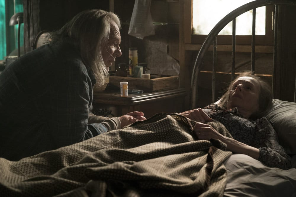 "THE BLACKLIST -- ""Dr. Adrian Shaw (#98): Conclusion"" Episode 408 -- Pictured: (l-r) Leon Rippy as The Hunter, Susan Blommaert as Mr. Kaplan -- (Photo by: Virginia Sherwood/NBC)"