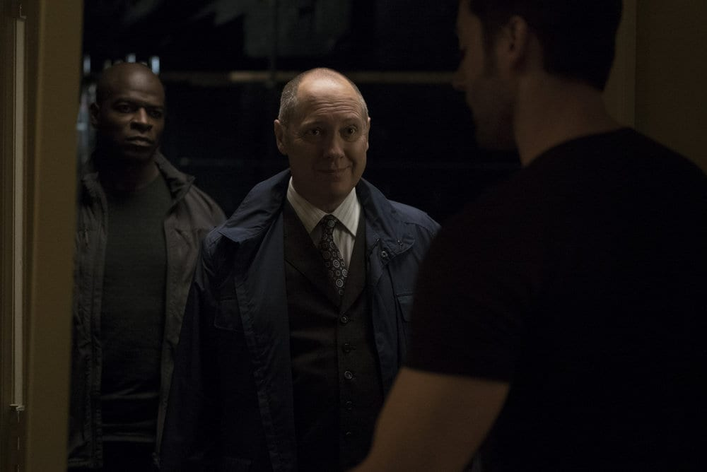"THE BLACKLIST -- ""Dr. Adrian Shaw (#98): Conclusion"" Episode 408 -- Pictured: (l-r) Hisham Tawfiq as Dembe Zuma, James Spader as Raymond ""Red"" Reddington -- (Photo by: Virginia Sherwood/NBC)"
