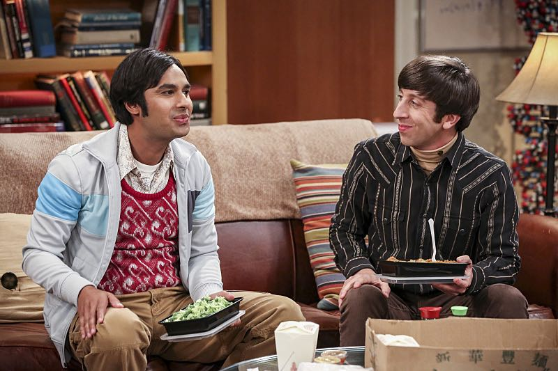 """""""The Brain Bowl Incubation"""" -- Pictured: Rajesh Koothrappali (Kunal Nayyar) and Howard Wolowitz (Simon Helberg). After a successful experiment combining their genes, Sheldon will stop at nothing to convince Amy they should procreate. Also, Koothrappali is embarrassed to tell the gang what the new woman he's dating does for a living, on THE BIG BANG THEORY, Thursday, Nov. 10 (8:00-8:31 PM, ET/PT), on the CBS Television Network. Photo: Michael Yarish/Warner Bros. Entertainment Inc. © 2016 WBEI. All rights reserved."""