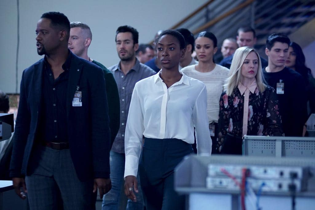 """QUANTIZE - """"AQUILINE"""" - At the Farm, the trainees learn their next task is to decide on a drone strike, which triggers Alex's memories of Simon's sacrifice. Meanwhile, Shelby and Leon's relationship reaches the next level, and Nimah advises Alex and Ryan not to trust Harry. In the future, Alex questions if she can trust Lydia, leading to combat between the two, on """"Quantico,"""" airing SUNDAY, NOVEMBER 6 (10:00-11:00 p.m. EST), on the ABC Television Network. (ABC/Nicole Rivelli) BLAIR UNDERWOOD, AARON DIAZ, TRACY IFEACHOR, PEARL THUSI, HELENE YORKE"""