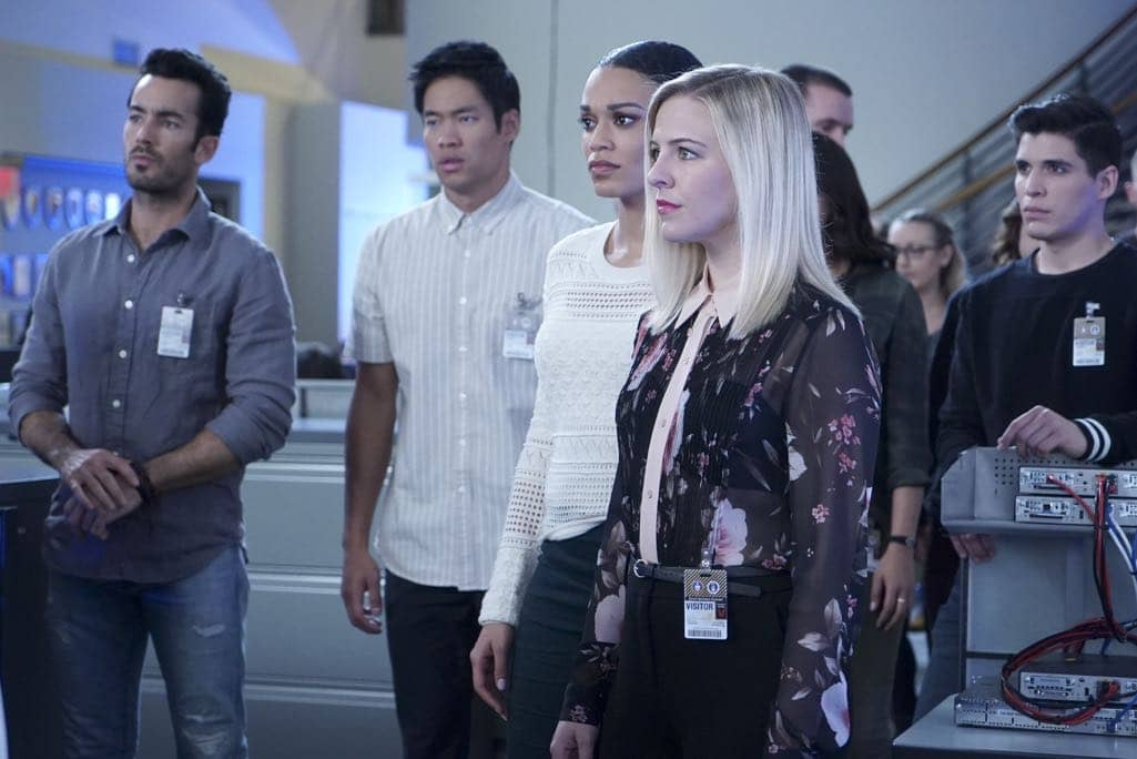 """QUANTIZE - """"AQUILINE"""" - At the Farm, the trainees learn their next task is to decide on a drone strike, which triggers Alex's memories of Simon's sacrifice. Meanwhile, Shelby and Leon's relationship reaches the next level, and Nimah advises Alex and Ryan not to trust Harry. In the future, Alex questions if she can trust Lydia, leading to combat between the two, on """"Quantico,"""" airing SUNDAY, NOVEMBER 6 (10:00-11:00 p.m. EST), on the ABC Television Network. (ABC/Nicole Rivelli) AARON DIAZ, DAVID LIM, PEARL THUSI, HELENE YORKE"""