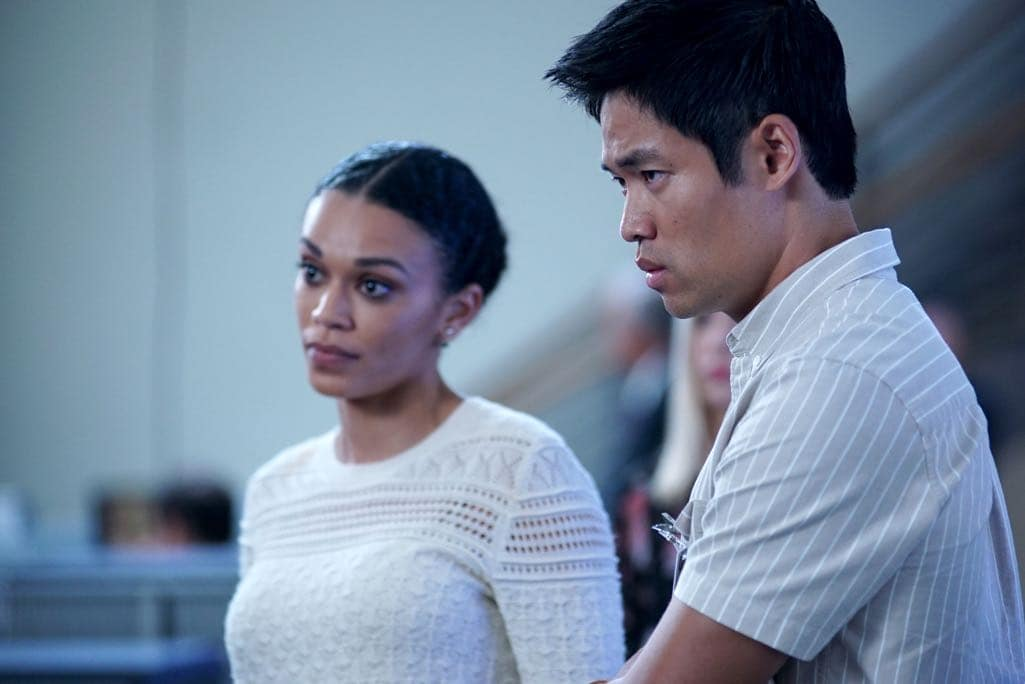 """QUANTIZE - """"AQUILINE"""" - At the Farm, the trainees learn their next task is to decide on a drone strike, which triggers Alex's memories of Simon's sacrifice. Meanwhile, Shelby and Leon's relationship reaches the next level, and Nimah advises Alex and Ryan not to trust Harry. In the future, Alex questions if she can trust Lydia, leading to combat between the two, on """"Quantico,"""" airing SUNDAY, NOVEMBER 6 (10:00-11:00 p.m. EST), on the ABC Television Network. (ABC/Nicole Rivelli) PEARL THUSI, DAVID LIM"""