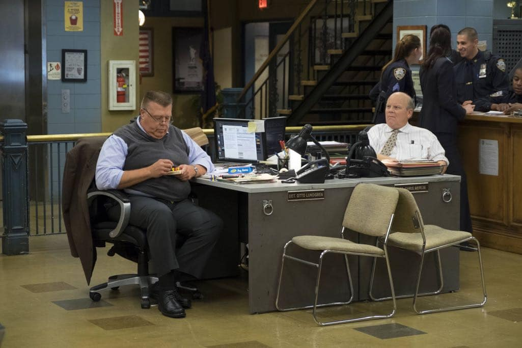 "BROOKLYN NINE-NINE: L-R: Dirk Blocker and Joel McKinnon Miller in the ""Skyfire Cycle"" episode of BROOKLYN NINE-NINE airing Tuesday, Nov. 1 (8:00-8:31 PM ET/PT) on FOX. CR: John P Fleenor/FOX"