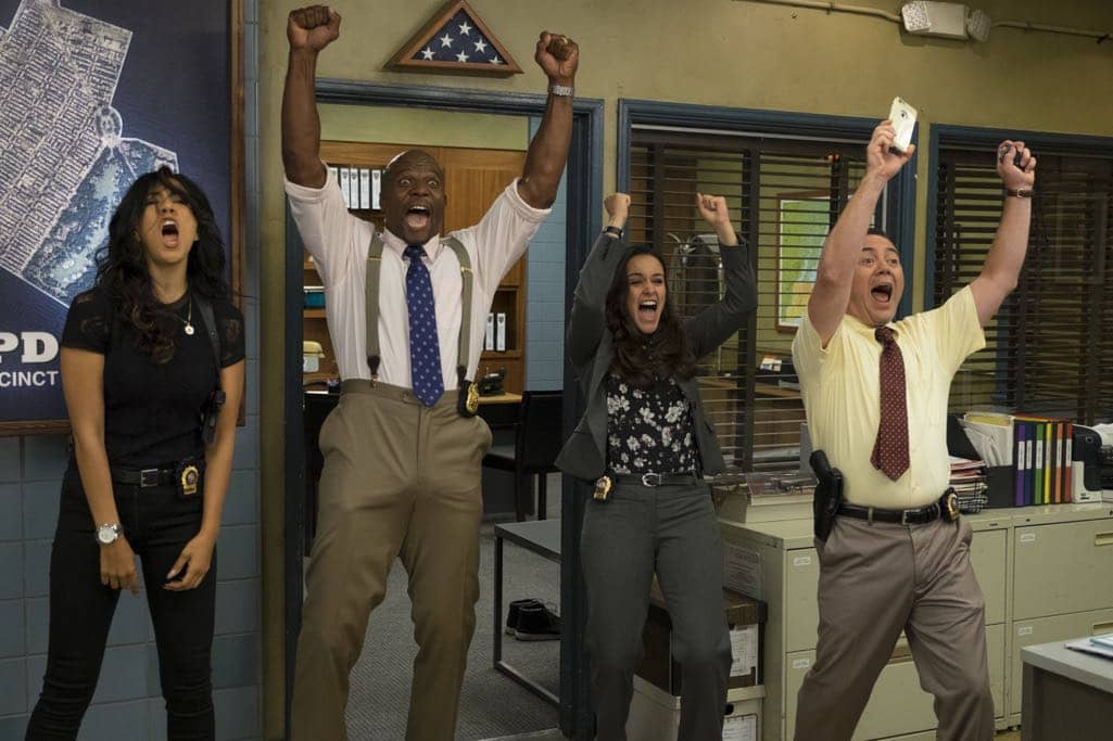 "BROOKLYN NINE-NINE: L-R: Stephanie Beatriz, Terry Crews, Melissa Fumero and Joe Lo Truglio in the ""Skyfire Cycle"" episode of BROOKLYN NINE-NINE airing Tuesday, Nov. 1 (8:00-8:31 PM ET/PT) on FOX. CR: John P Fleenor/FOX"