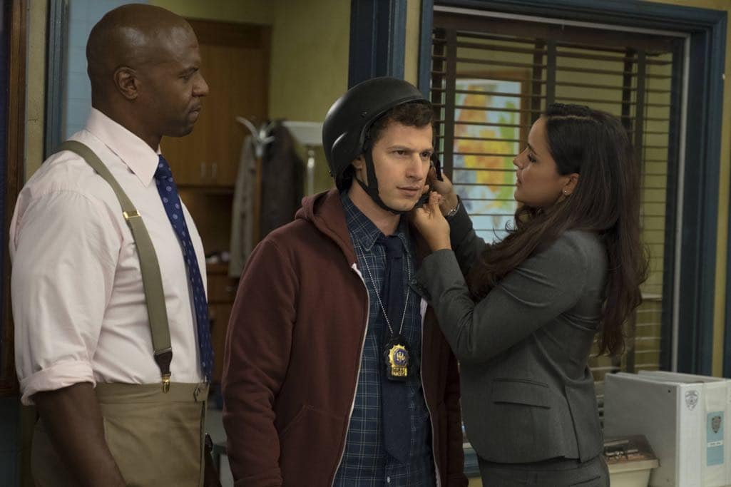 "BROOKLYN NINE-NINE: L-R: Terry Crews, Andy Samberg and Melissa Fumero in the ""Skyfire Cycle"" episode of BROOKLYN NINE-NINE airing Tuesday, Nov. 1 (8:00-8:31 PM ET/PT) on FOX. CR: John P Fleenor/FOX"