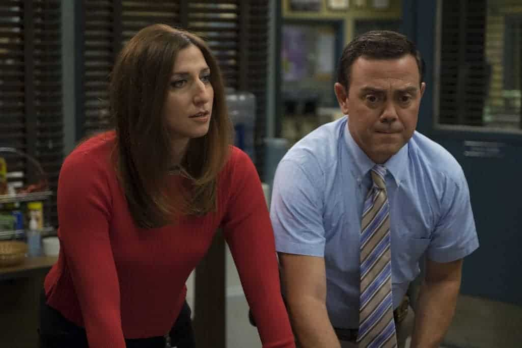 "BROOKLYN NINE-NINE: L-R: Chelsea Peretti and Joe Lo Truglio in the ""Skyfire Cycle"" episode of BROOKLYN NINE-NINE airing Tuesday, Nov. 1 (8:00-8:31 PM ET/PT) on FOX. CR: John P Fleenor/FOX"