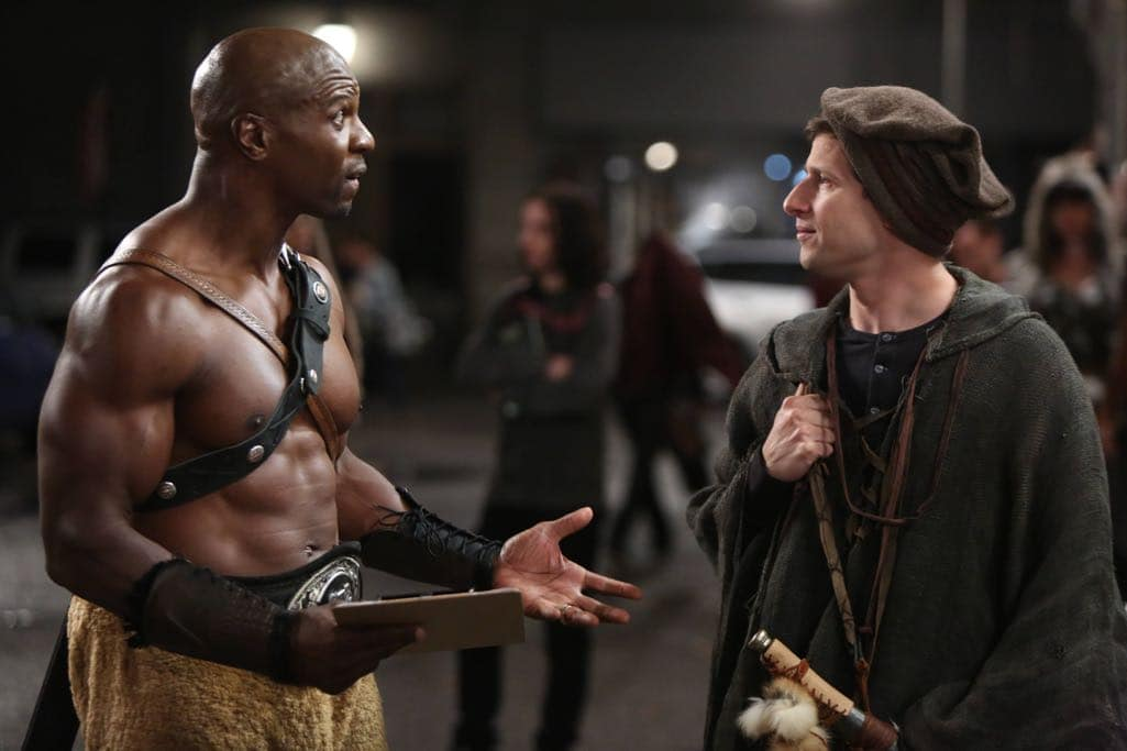 "BROOKLYN NINE-NINE: L-R: Terry Crews and Andy Samberg in the ""Skyfire Cycle"" episode of BROOKLYN NINE-NINE airing Tuesday, Nov. 1 (8:00-8:31 PM ET/PT) on FOX. CR: John P Fleenor/FOX"