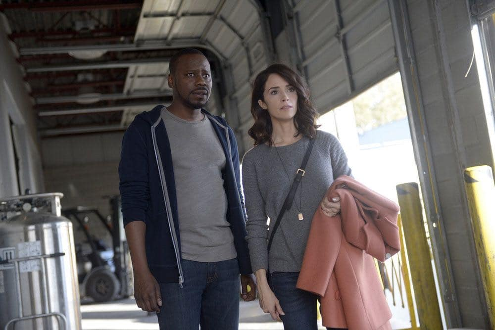 "TIMELESS -- ""The Watergate Tape"" Episode 105 -- Pictured: (l-r) Malcolm Barrett as Rufus Carlin, Abigail Spencer as Lucy Preston -- (Photo by: Sergei Bachlakov/NBC)"