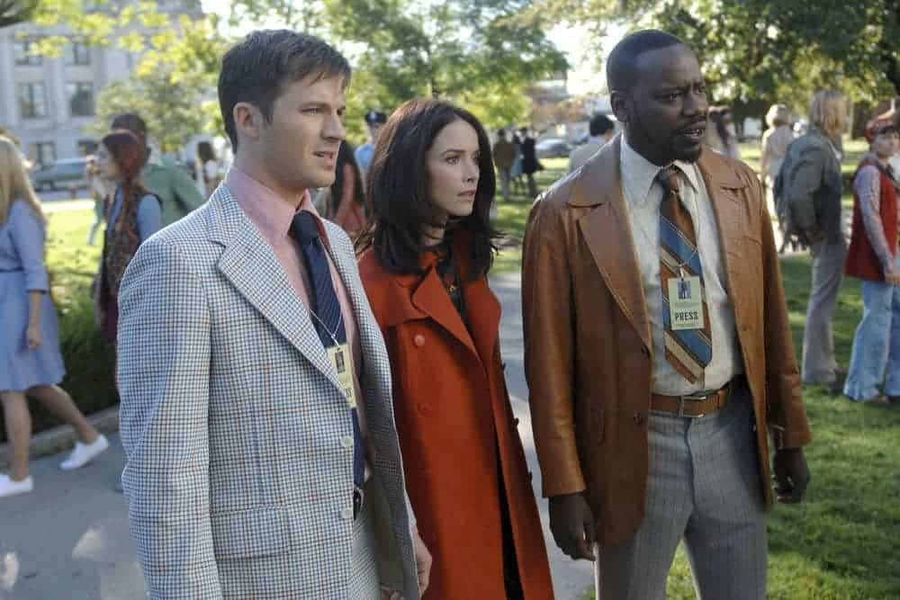 "TIMELESS -- ""The Watergate Tape"" Episode 105 -- Pictured: (l-r) Matt Lanter as Wyatt Logan, Abigail Spencer as Lucy Preston, Malcolm Barrett as Rufus Carlin -- (Photo by: Sergei Bachlakov/NBC)"