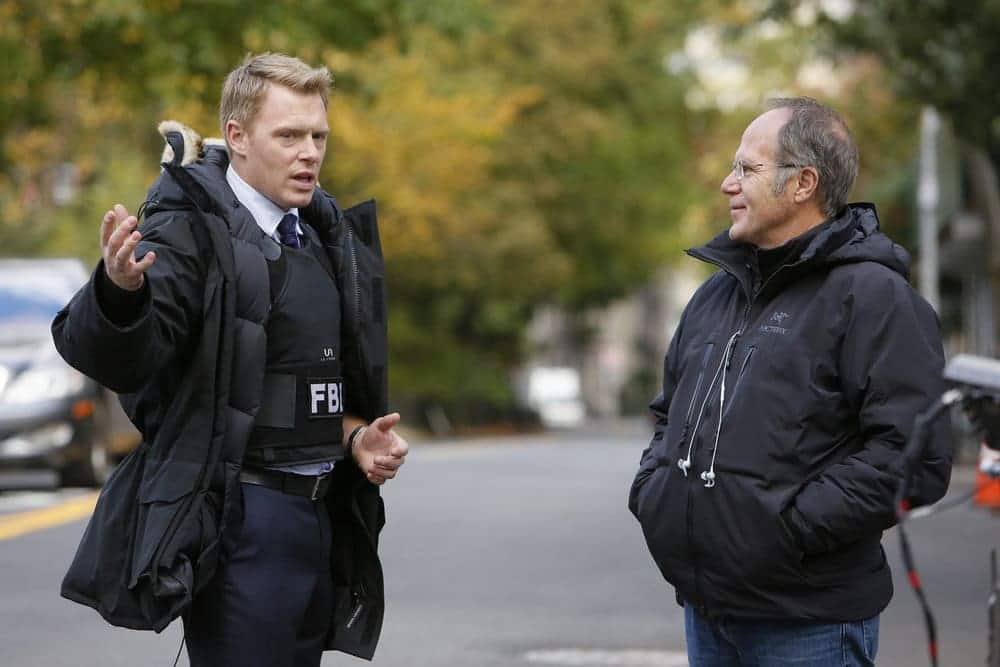 "THE BLACKLIST -- ""Lipet's Seafood Company #111"" Episode 409 -- Pictured: (l-r) Diego Klattenhoff as Donald Ressler, Director Don Thorin"