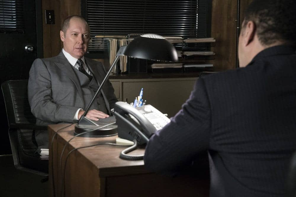 "THE BLACKLIST -- ""Lipet's Seafood Company #111"" Episode 409 -- Pictured: (l-r) James Spader as Raymond ""Red"" Reddington, Harry Lennix as Harold Cooper"
