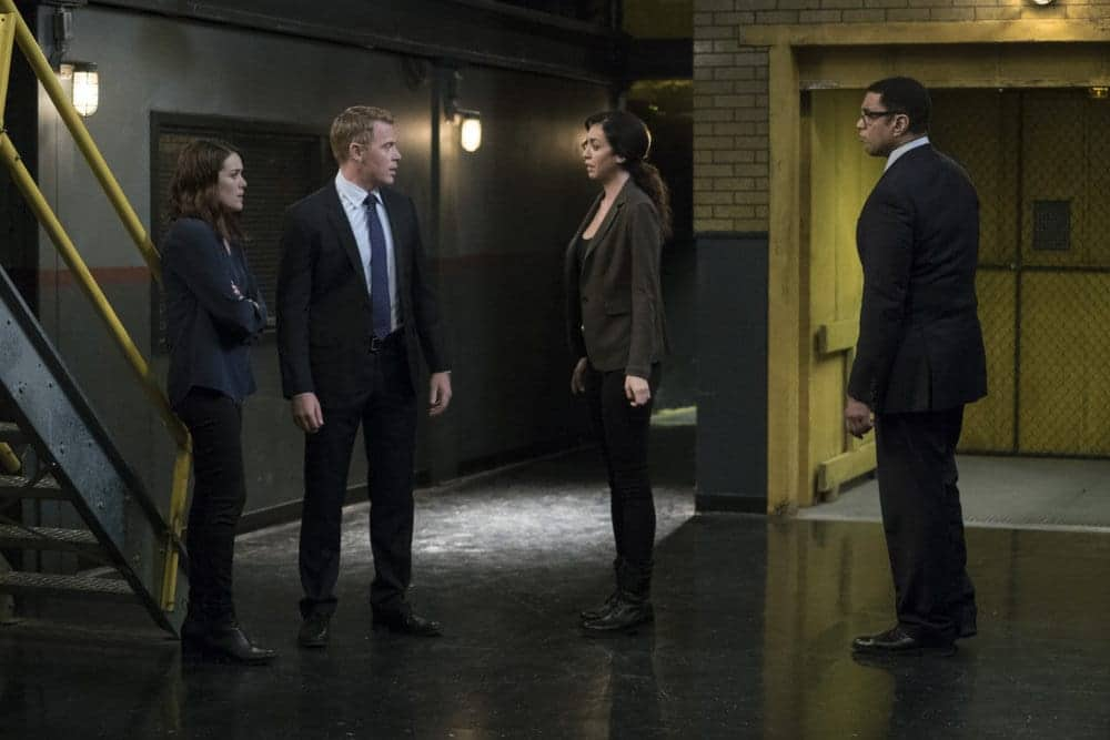 "THE BLACKLIST -- ""Lipet's Seafood Company #111"" Episode 409 -- Pictured: (l-r) Megan Boone as Elizabeth Keen, Diego Klattenhoff as Donald Ressler, Mozhan Marno as Samar Navabi, Harry Lennix as Harold Cooper"
