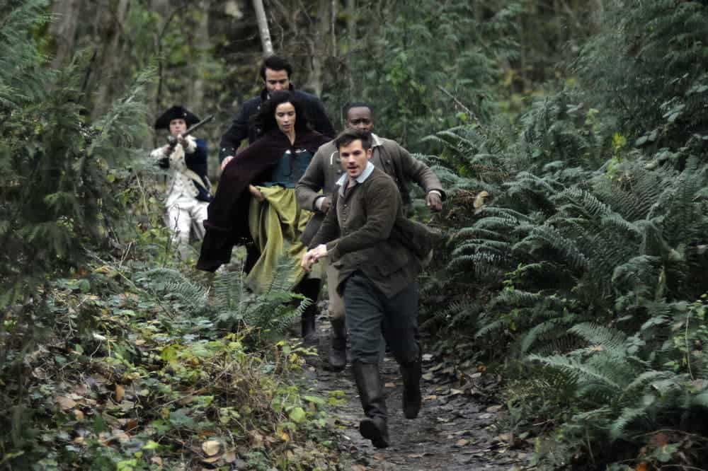 "TIMELESS -- ""The Capture of Benedict Arnold"" Episode 109 -- Pictured: (l-r) Goran Visnjic as Garcia Flynn, Abigail Spencer as Lucy Preston, Malcolm Barett as Rufus Carlin, Matt Lanter as Wyatt Logan -- (Photo by: Sergei Bachlakov/NBC)"