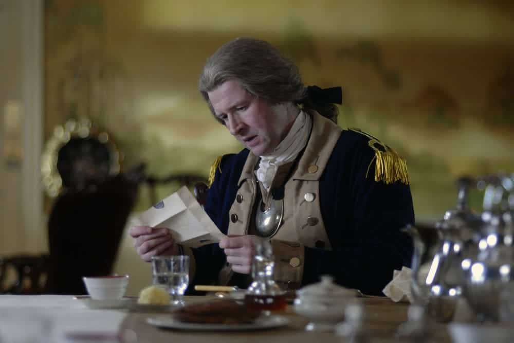"TIMELESS -- ""The Capture of Benedict Arnold"" Episode 109 -- Pictured: Damian O'Hare as George Washington -- (Photo by: Sergei Bachlakov/NBC)"
