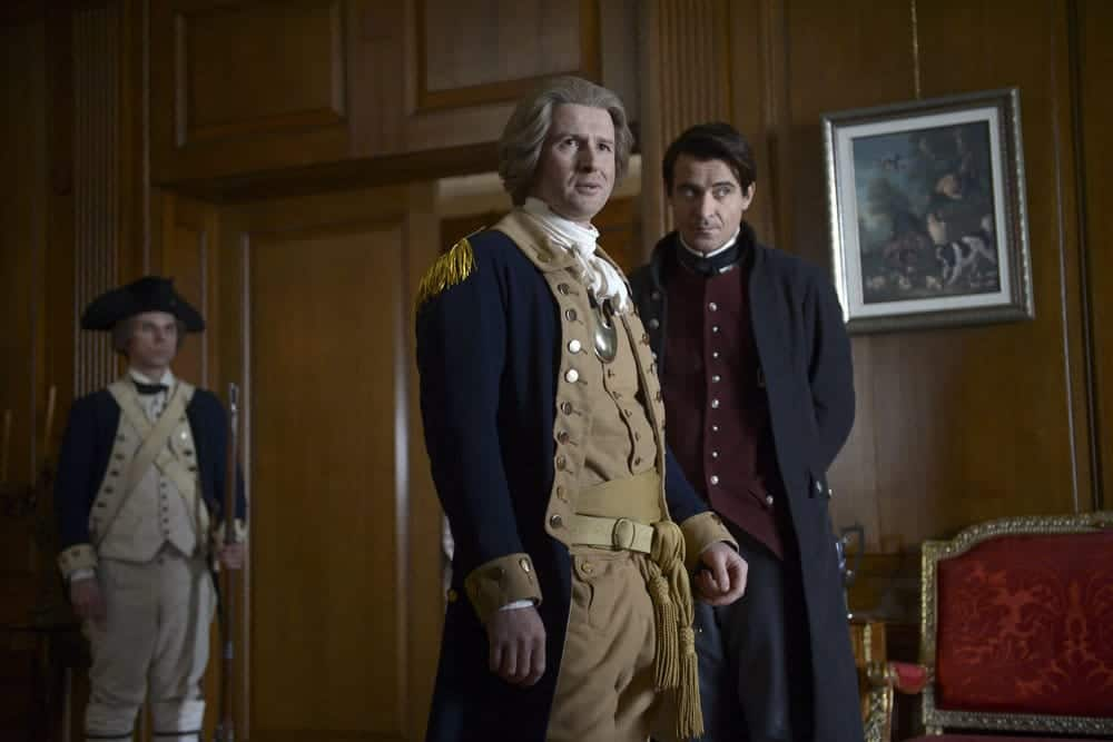 "TIMELESS -- ""The Capture of Benedict Arnold"" Episode 109 -- Pictured: (l-r) Damian O'Hare as George Washington, Goran Visnjic as Garcia Flynn -- (Photo by: Sergei Bachlakov/NBC)"