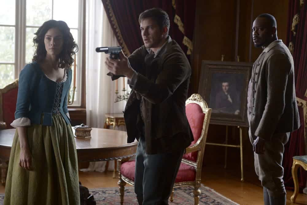 "TIMELESS -- ""The Capture of Benedict Arnold"" Episode 109 -- Pictured: (l-r) Abigail Spencer as Lucy Preston, Matt Lanter as Wyatt Logan, Malcolm Barrett as Rufus Carlin -- (Photo by: Sergei Bachlakov/NBC)"