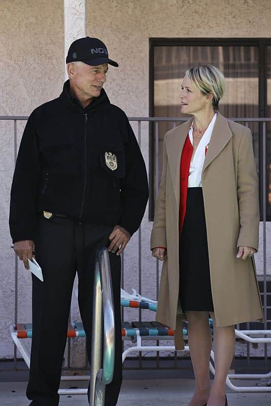 """Pay to Play"" -- The NCIS team investigates a series of escalating threats against congresswoman Jenna Flemming (Mary Stuart Masterson), while Director Vance oversees temporary protection detail, on NCIS, Tuesday, Nov. 15 (8:00-9:00 PM, ET/PT), on the CBS Television Network. Pictured: Mark Harmon, Mary Stuart Masterson Photo: Michael Yarish/CBS ©2016 CBS Broadcasting, Inc. All Rights Reserved"