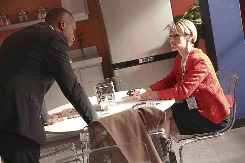 """Pay to Play"" -- The NCIS team investigates a series of escalating threats against congresswoman Jenna Flemming (Mary Stuart Masterson), while Director Vance oversees temporary protection detail, on NCIS, Tuesday, Nov. 15 (8:00-9:00 PM, ET/PT), on the CBS Television Network. Pictured: Rocky Carroll, Mary Stuart Masterson. Photo: Michael Yarish/CBS ©2016 CBS Broadcasting, Inc. All Rights Reserved"