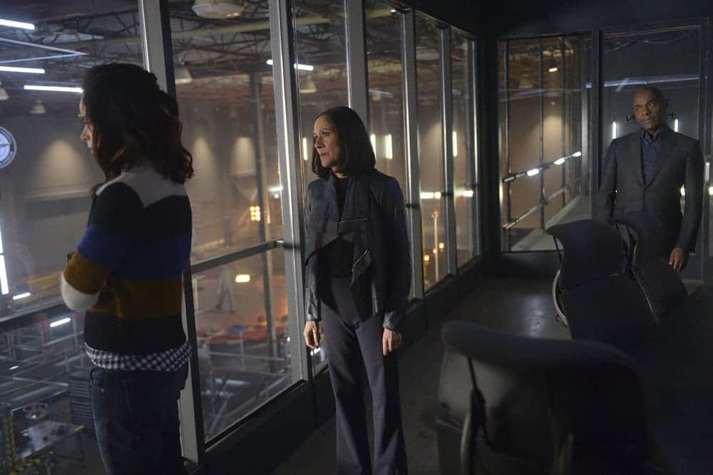 "TIMELESS -- ""Karma Chameleon"" Episode 113 -- Pictured: (l-r) Abigail Spencer as Lucy Preston, Sakina Jaffrey as Denise Christopher, Paterson Joseph as Connor Mason"