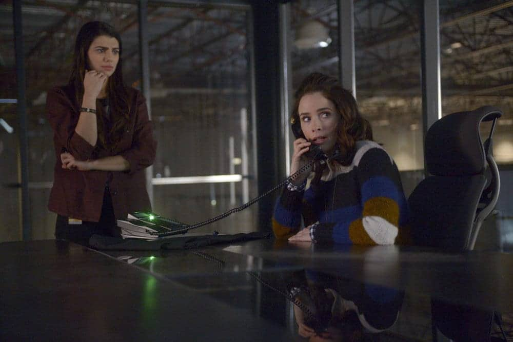 "TIMELESS -- ""Karma Chameleon"" Episode 113 -- Pictured: (l-r) Claudia Doumit as Jiya, Abigail Spencer as Lucy Preston"