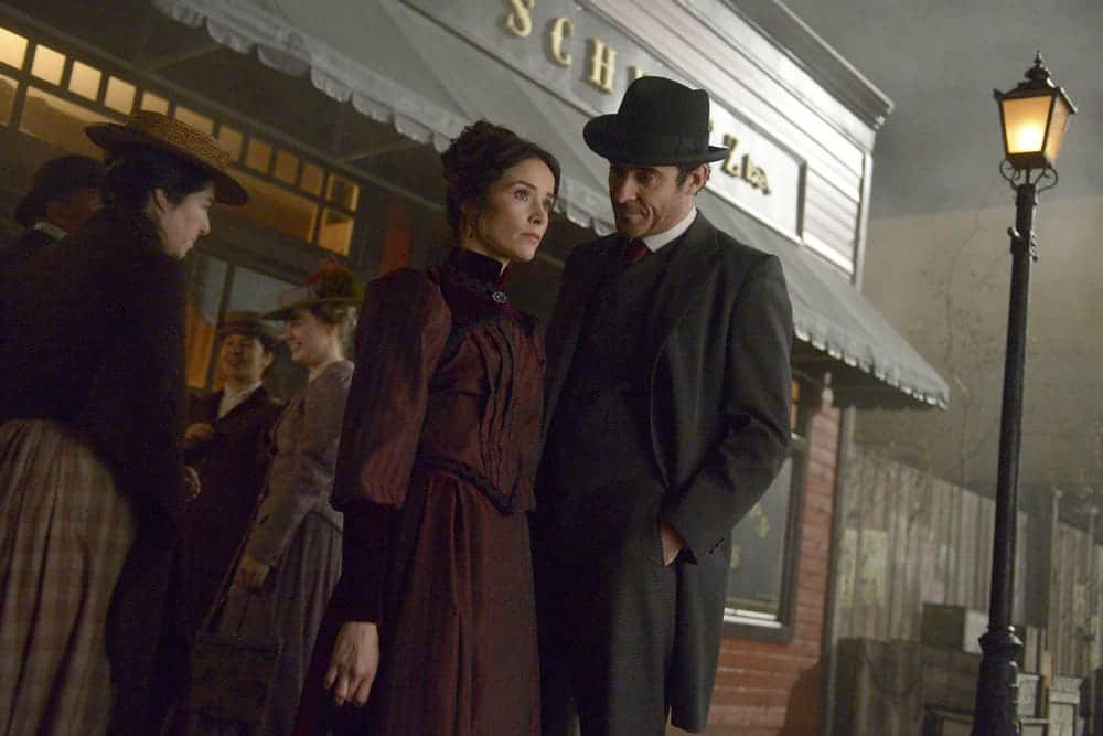"TIMELESS -- ""The World's Columbian Exposition"" Episode 111 -- Pictured: (l-r) Abigail Spencer as Lucy Preston, Goran Visnjic as Garcia Flynn"