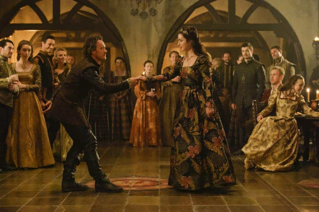 "Reign -- ""Leaps of Faith"" -- Image Number: RE403a_0171.jpg -- Pictured (L-R) Ben Geurens as Gideon and Adelaide Kane as Mary, Queen of Scots -- Photo: Ben Mark Holzberg/The CW -- © 2017 The CW Network, LLC. All Rights Reserved"
