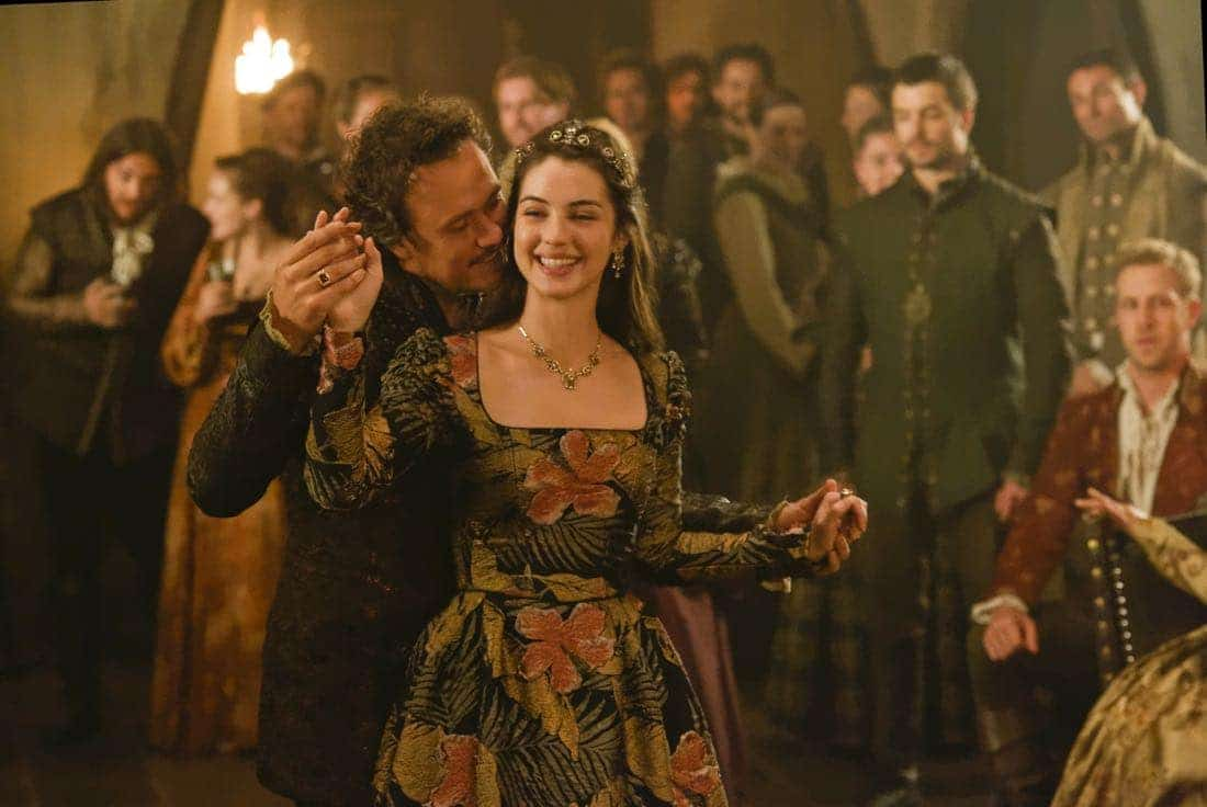 "Reign -- ""Leaps of Faith"" -- Image Number: RE403a_0215.jpg -- Pictured (L-R) Ben Geurens as Gideon and Adelaide Kane as Mary, Queen of Scots -- Photo: Ben Mark Holzberg/The CW -- © 2017 The CW Network, LLC. All Rights Reserved"