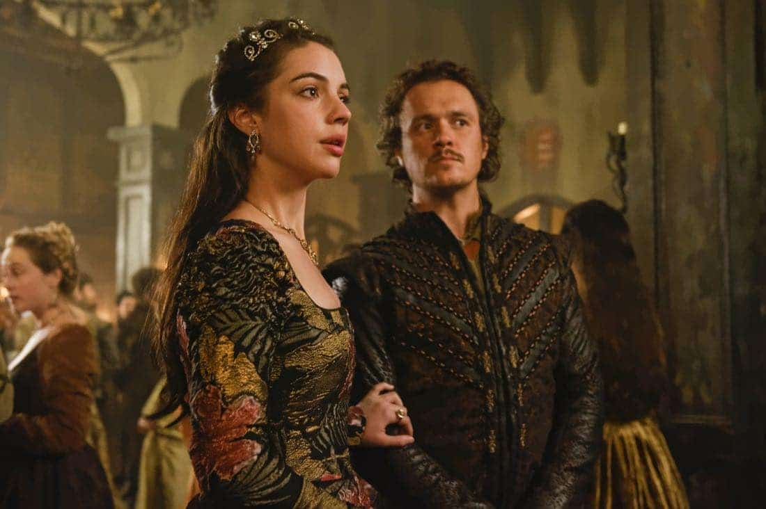 "Reign -- ""Leaps of Faith"" -- Image Number: RE403a_0322.jpg -- Pictured (L-R) Adelaide Kane as Mary, Queen of Scots and Ben Geurens as Gideon -- Photo: Ben Mark Holzberg/The CW -- © 2017 The CW Network, LLC. All Rights Reserved"