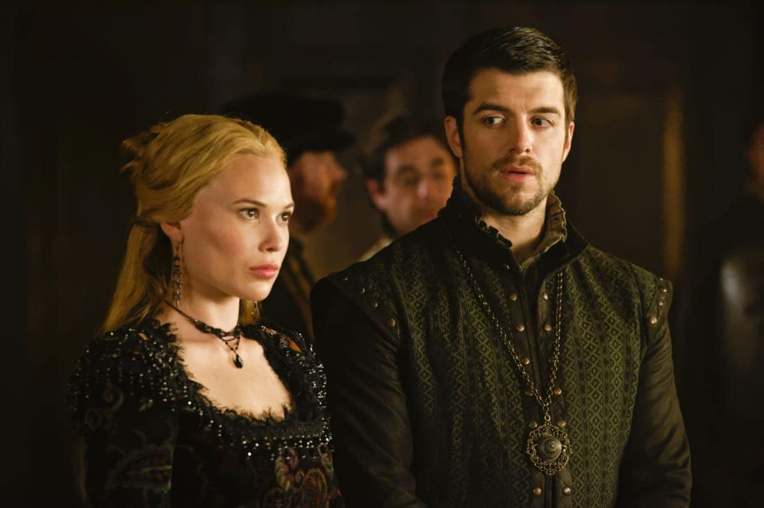 "Reign -- ""Leaps of Faith"" -- Image Number: RE403a_0260.jpg -- Pictured (L-R) Celina Sinden as Greer and Dan Jeannotte as James -- Photo: Ben Mark Holzberg/The CW -- © 2017 The CW Network, LLC. All Rights Reserved"