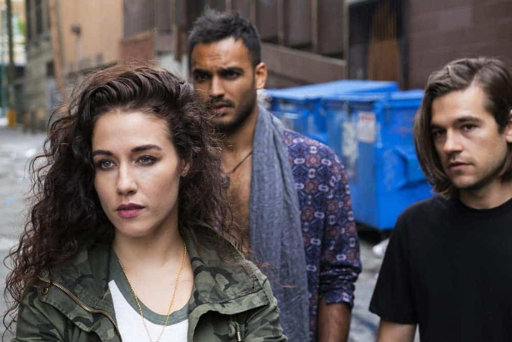 THE MAGICIANS -- Episode 207 -- Pictured: (l-r) Jade Tailor as Kady, Arjun Gupta as Penny, Jason Ralph as Quentin -- (Photo by: Eric Milner/Syfy)