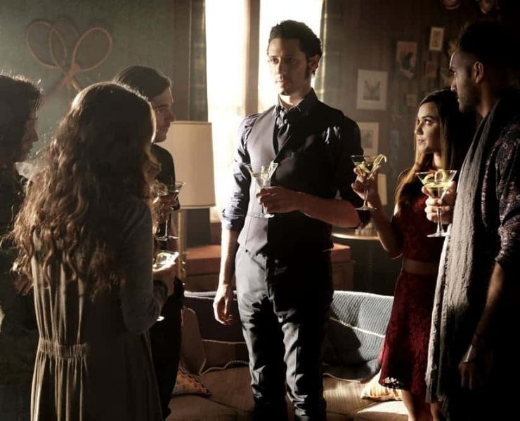 """THE MAGICIANS -- """"Plan B"""" Episode 207 -- Pictured: (l-r) Jade Tailor as Kady, Jason Ralph as Quentin, Hale Appleman as Eliot, Summer Bishil as Margo, Arjun Gupta as Penny -- (Photo by: Eike Schroter/Syfy)"""
