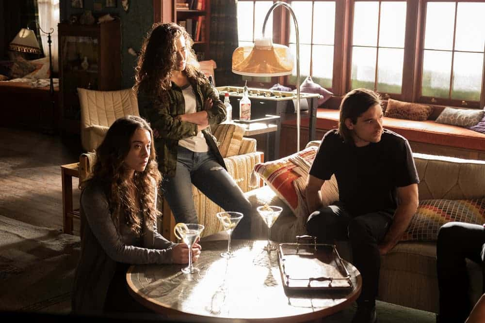 """THE MAGICIANS -- """"Plan B"""" Episode 207 -- Pictured: (l-r) Stella Maeve as Julia, Jade Tailor as Kady, Jason Ralph as Quentin -- (Photo by: Eike Schroter/Syfy)"""