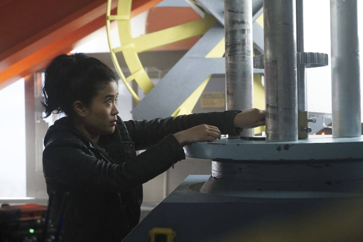 """""""Broken Wind"""" -- While on a mission to repair a turbine at a wind farm, Team Scorpion must race to save Paige and Happy before the cable holding the gondola they are in snaps and sends them plummeting to the ground, on SCORPION, Monday, March 20 (10:00-11:00 PM, ET/PT) on the CBS Television Network. Pictured:  JAdyn Wong. Photo: Monty Brinton/CBS ©2017 CBS Broadcasting, Inc. All Rights Reserved"""