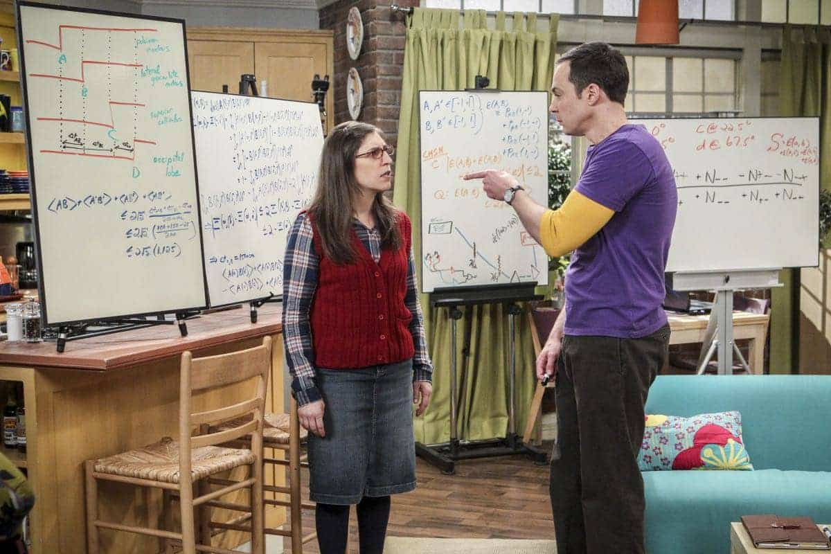 """""""The Collaboration Fluctuation"""" -- Pictured: Amy Farrah Fowler (Mayim Bialik) and Sheldon Cooper (Jim Parsons). Leonard, Penny and Raj adjust to their new living arrangement, and Sheldon takes an interest in Amy's work, on THE BIG BANG THEORY, Thursday, March 30 (8:00-8:31 PM, ET/PT), on the CBS Television Network. Photo: Sonja Flemming/CBS ©2017 CBS Broadcasting, Inc. All Rights Reserved."""