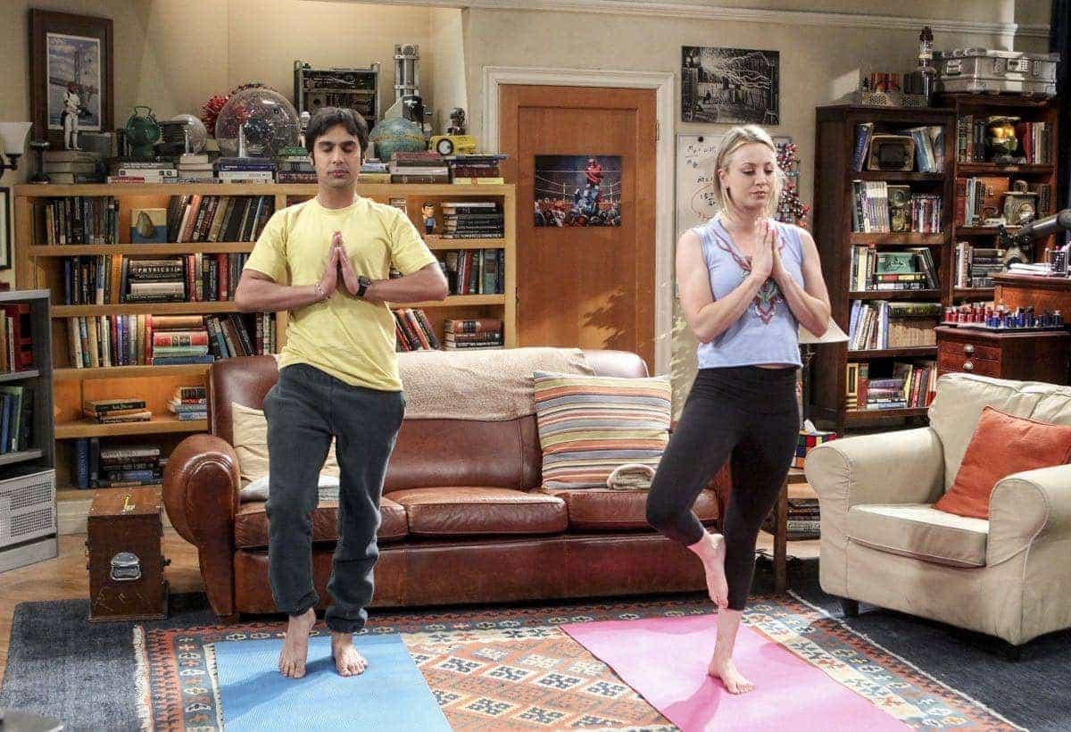 Rajesh Koothrappali (Kunal Nayyar) and Penny (Kaley Cuoco) Doing Yoga