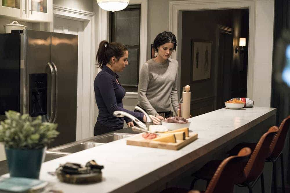 "BLINDSPOT -- ""Evil Did I Dwell, Lewd Did I Live"" Episode 216 -- Pictured: (l-r) Audrey Esparza as Tasha Zapata, Jaimie Alexander as Jane Doe"