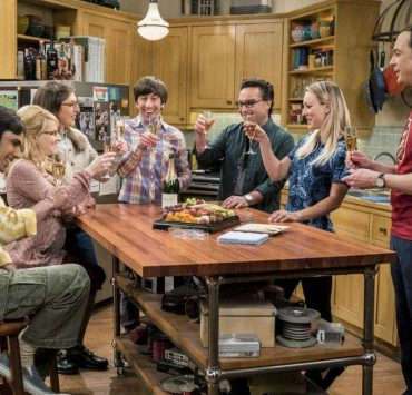 """""""The Gyroscopic Collapse"""" -- Pictured: Rajesh Koothrappali (Kunal Nayyar), Bernadette (Melissa Rauch), Amy Farrah Fowler (Mayim Bialik), Howard Wolowitz (Simon Helberg), Leonard Hofstadter (Johnny Galecki), Penny (Kaley Cuoco) and Sheldon Cooper (Jim Parsons). After Leonard, Sheldon and Wolowitz celebrate the completion of the top secret air force project, they are met with an unpleasant surprise. Also, Amy is offered a summer position as a visiting researcher, on THE BIG BANG THEORY, Thursday, May 4 (8:00-8:31 PM, ET/PT), on the CBS Television Network. Photo: Monty Brinton/CBS ©2017 CBS Broadcasting, Inc. All Rights Reserved."""