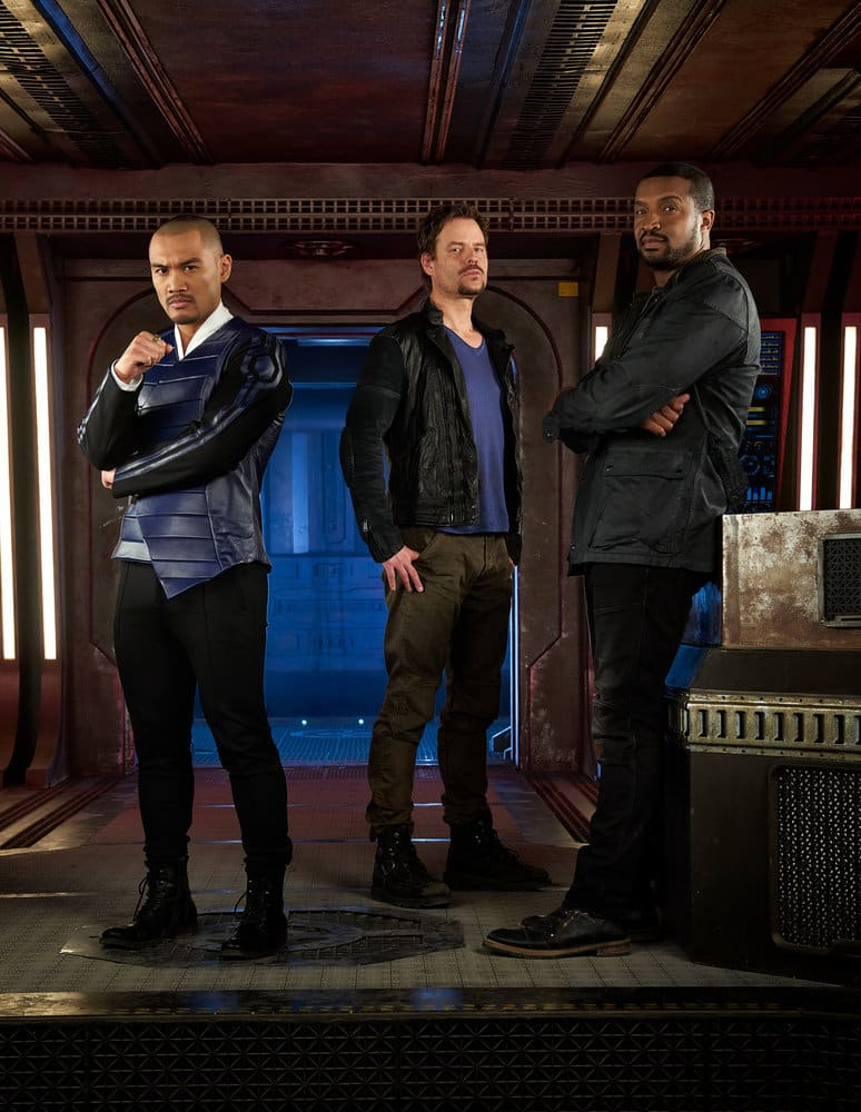 DARK MATTER -- Season:3 -- Pictured: (l-r) Alex Malari Jr. as Four, Anthony Lemke as Three, Roger Cross as Six