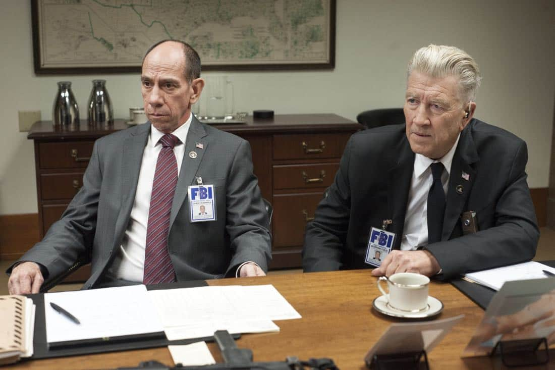 Miguel Ferrer and David Lynch in a still from Twin Peaks. Photo: Suzanne Tenner/SHOWTIME