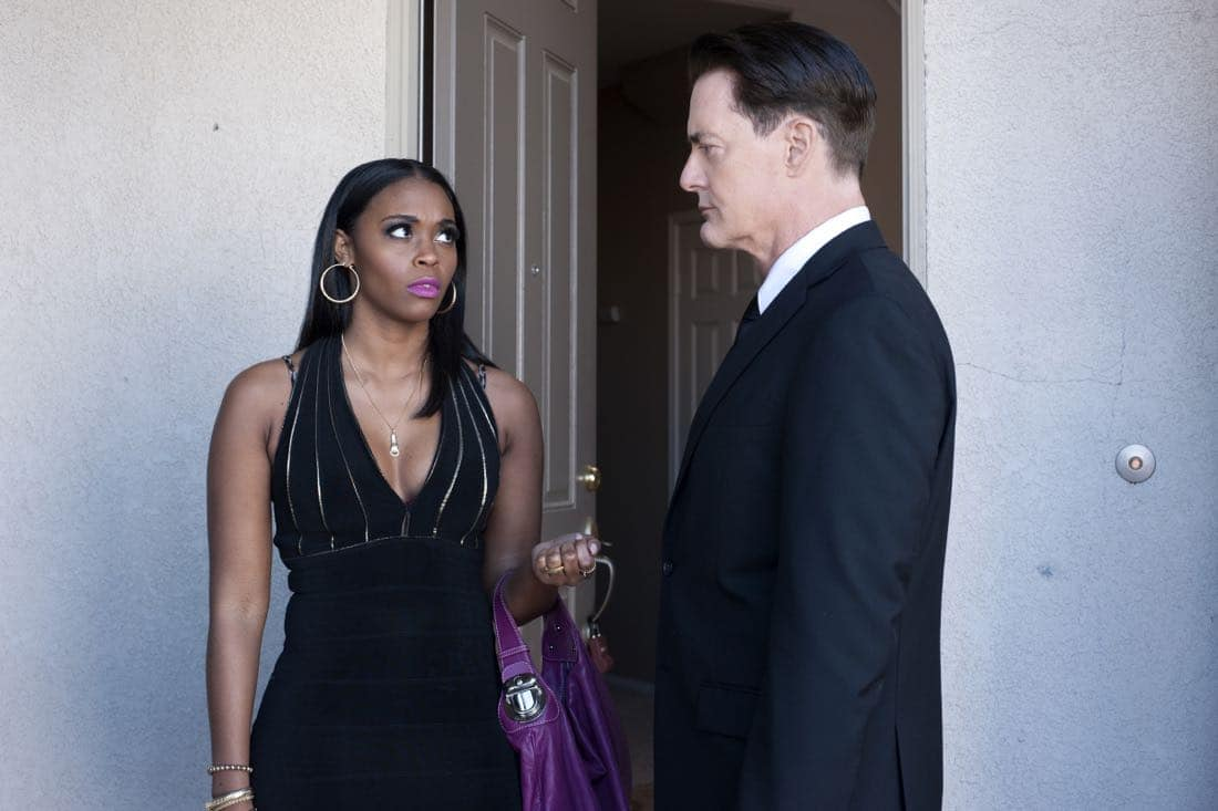 Nefessa Williams and Kyle MacLachlan in a still from Twin Peaks. Photo: Suzanne Tenner/SHOWTIME