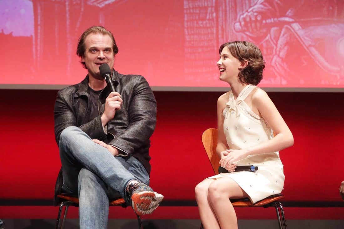 EXCLUSIVE - David Harbour and Millie Bobby Brown seen at 'Stranger Things' Netflix FYSee exhibit space with a Q&A at the Samuel Goldwyn Theater on Tuesday, June 06, 2017, in Los Angeles. (Photo by Eric  Charbonneau/Invision for Netflix/AP Images)